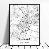 zhuifengshaonian Póster Almere Alkmaar Arnhem Amersfoort Haarlem Utrecht Zwolle Países Bajos Mapa (ZW-1840) Sin Marco Poster 40x60cm