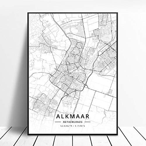Almere Alkmaar Arnhem Amersfoort Haarlem Utrecht Zwolle Netherlands Map Poster (ZW-1840) Geen frame poster 40x60cm