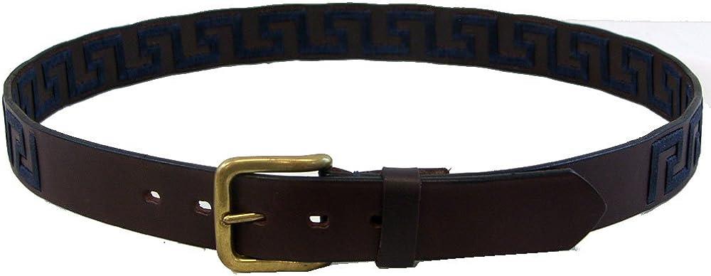 Navy Key Intrepid International Wow Greek Key Brown Leather Belt