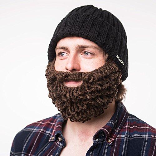 Beardo® Original Bartmütze (verschiedene Farbkombinationen) - mit abnehm- und verstellbarem Bart ('Burly' - Bartmütze schwarz / braun)