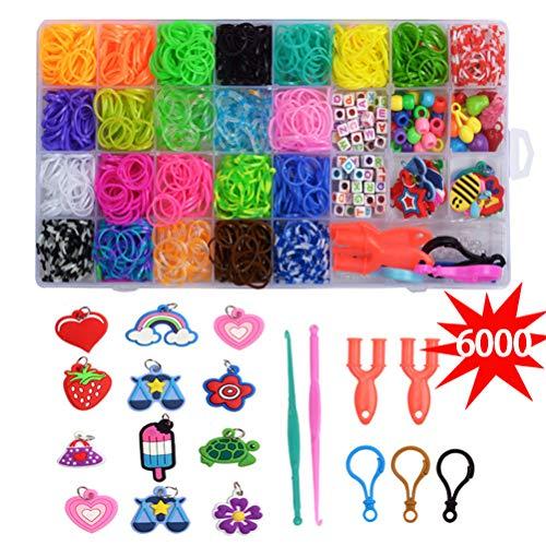 6489 + Rainbow elastiekjes Navulset, 6000 Loom Band, 300 ABC en ronde vat kralen 60 Fruit kralen 9 sleutel 108 S Beugels 6 Haak 6 Slingshots