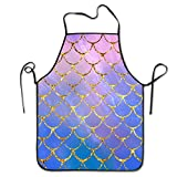 Pink Mermaid Glitter Scales Apron - Bib Apron for Baking Crafting Funny Baking Apron Novelty Cooking Chef Gift for Women BBQ Grilling Kitchen Apron