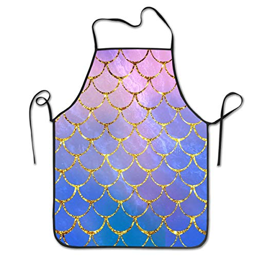 DZGlobal Pink Mermaid Glitter Scales Apron - Bib Apron for Baking Crafting Funny Baking Apron Novelty Cooking Chef Gift for Women BBQ Grilling Kitchen Apron