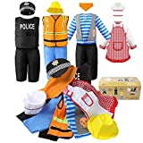 Sinuo Boy's Dress Up Costumes Set, Role Play Set 11-pcs Dress Up Trunk Pirate, Chef, Construction Worker, Policeman Costume Fit Boys Age from 3-6