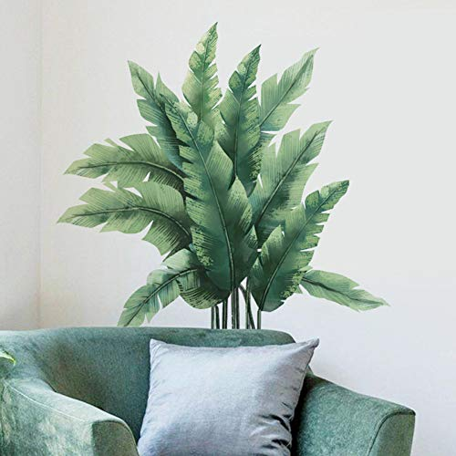 Large Green Leaves Wall Stickers Home Decor Tropical Plants Removable PVC Murals Benroom Background Decoration