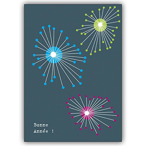 10 Silvesterkarten: Bunte französische Silvesterkarte mit Feuerwerk: Bonne année! • hübsche hochwertige Grusskarten Set mit Umschlägen zu vielen Anlässen