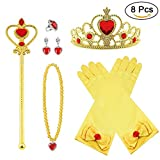 Vicloon Nuovi Costumi da Principessa Set di 8 Pezzi Dono da Tiara, Guanti, Bacchetta Magica, Anello, orecchino, Collana da 3 a 9 Anni (Giallo)