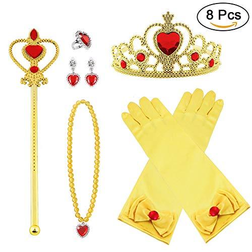 Vicloon Neue Prinzessin Kostüme Set 9 Stück Geschenk aus Diadem, Handschuhe, Zauberstab, Halskette 2-9 Jahre