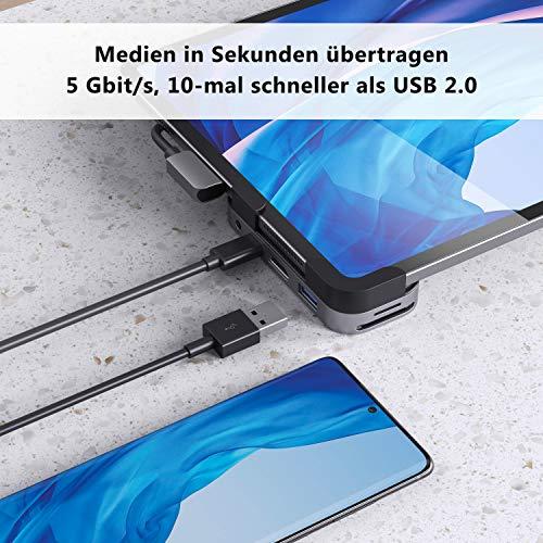 MOKiN USB C Hub for iPad Pro 2018/2020, 6 in 1 USB C Adapter, Unterstützt 4K@60Hz HDMI, USB3.0, 87W Aufladung, SD/TF Kartenleser, 3,5 mm Audio kompatibel mit MacBook Pro/iPad Pro