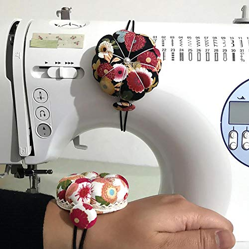D.ragon Sewing Machine Pin Cushion, 2Pcs Flower-shaped Cross-stitch With Elastic Wristband, Wrist Pin Cushion Dual-purpose Pin Tie Pin Cushion, Can Be Used For Household Sewing