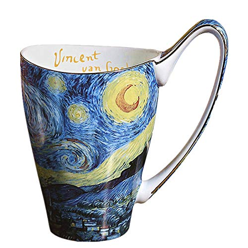 HRDZ Taza de agua de la casa taza de gran capacidad creativa hueso china estilo simple arte pintado a mano taza
