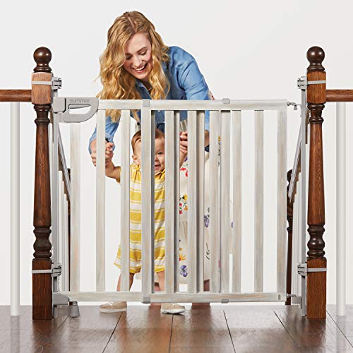 Summer Infant Banister & Stair Safety Gate with Extra Wide Door, Wood, 33' - 46', Birch Stain with Gray Accents, 33-46'