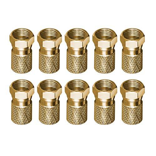 10 Stück F-Stecker für SAT-Kabel Bis Ø 8,2mm - CU-Vergoldet, breite Mutter