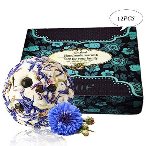 Les bombes de bain de Cornflower ensemble de cadeau, 12 x 3,5 oz les huiles essentielles organiques faites main,les idées parfaites de kit de cadeau pour des copines, des femmes, maman