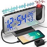 Despertador de Proyección 7.5 Pulgadas Digital 180° Rotativo Despertador Proyector Función de Radio FM Humedad Temperatura Interior con Puerto de Carga USB 2 Relojes Despertadores 4 Niveles de Brillo