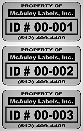 """500 Custom 1.5"""" x .75"""" Metalized Silver Polyester Asset Tags/Labels""""Featuring Easy Do It Yourself Design"""" (Click Listing for Quantity Options)"""