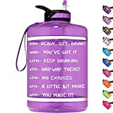 HydroMATE 1 Gallon Motivational Water Bottle with Time Marker Large BPA Free Jug with Straw & Handle Reusable Leak Proof Bottle Time Marked Drink More Water Daily Hydro MATE 128 oz Light Purple