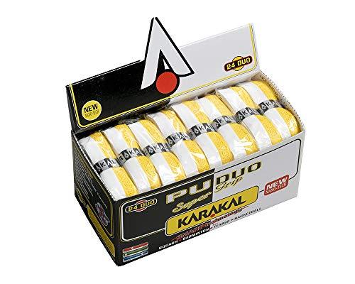 KARAKAL KJ 601WY Cushion Grip for All Racquets Sports PU Super Grip DUO White/Yellow 24 Pieces 1 Set