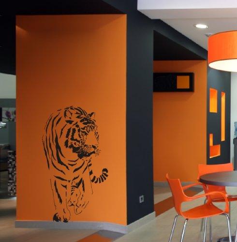 Dalinda Wandtattoo Tiger Afrika Wandaufkleber Wandsticker Wallprint (Größe 110x60) Nr. 107