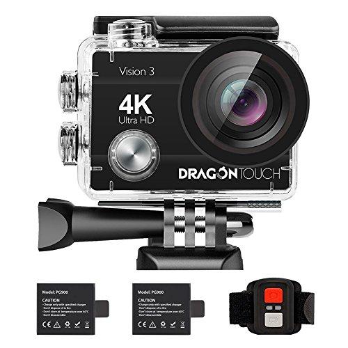 Dragon Touch 16MP Cámara de Acción Vision 3 Cámara de Video 4K Impermeable WiFi Cámara Deportiva con…