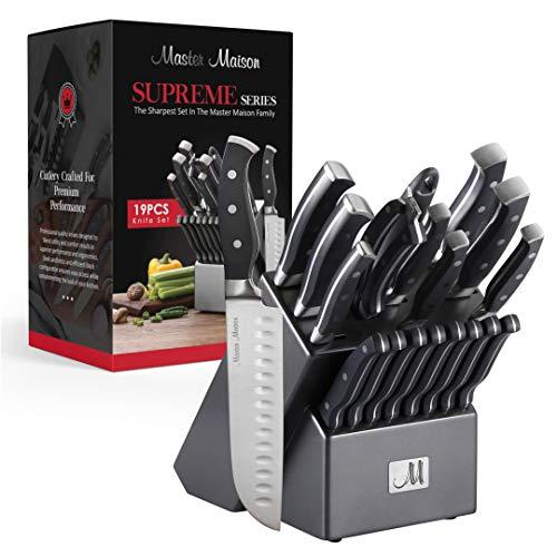 19-Piece Premium Kitchen Knife Set With Wooden Block | Master Maison German Stainless Steel…