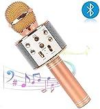 BESTNIFY Microphone karaoké Bluetooth, Microphone portatif sans Fil, Haut-Parleur 4 en 1 pour Enregistrement Vocal et Vocal, Compatible avec Android/iOS, PC