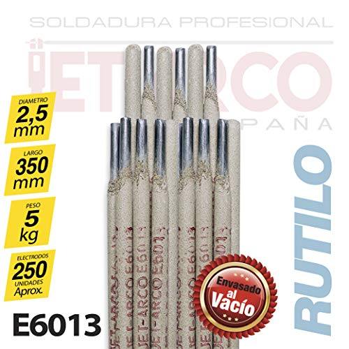 AWS A5.1 E6013. Electrodo Rutilo 6013 para soldadura de Acero al Carbono (Hierro, Acero dulce). MMA (Ø 2,5mm x 350mm. Paquete 5 Kg). JET-ARCO España. Ref.: J100EL