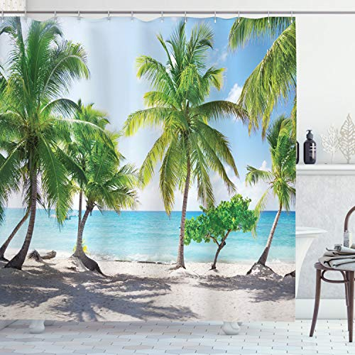 ABAKUHAUS Küsten Duschvorhang, Palmen-Insel-Ufer, mit 12 Ringe Set Wasserdicht Stielvoll Modern Farbfest & Schimmel Resistent, 175x220 cm, Kokosnuss Grün Aqua