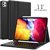 Keyboard Case for iPad Pro 11 2020 (2nd Generation), iPad Pro 11 Case with Keyboard 2018 - Wireless Detachable - with Pencil Holder - Flip Stand Cover - iPad Pro 11 inch Keyboard for Tablet