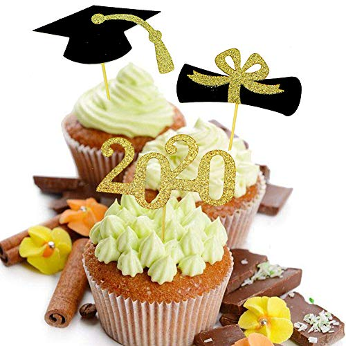 Qingo Graduation Cupcake Toppers Class of 2019,Grad. Party Decoration Food Picks Cake Picks Diploma, 2019, Grad Cap Set 48 Pack