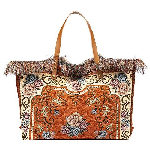 FIRENZE ARTEGIANI. Zama Borsa Shopper Donna Tessuto Cotone Crochet Borsa Shopper.Made in Italy.54x13x33 cm Colore: arancione.