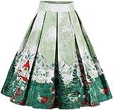 EUDOLAH Vestido de Mujer Falda Vintage de Verano Falda Plisada hasta la Rodilla Tejido de Tres Piezas(Árbol Verde,Medium)
