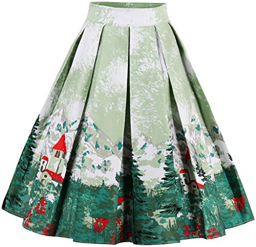EUDOLAH Damen Kleid Vintage Sommerrock Knielang Faltenrock Stoffdreuck Grün Baum Gr.L
