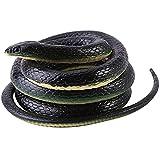 Amasawa Serpientes de Goma,Juguete de jardín de Goma en Forma de Serpiente 130cm Negro,Inicio Jardin Truco Broma de Halloween Prop.