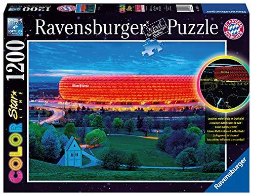 Ravensburger Puzzle 16187 - Allianz Arena - 1200 Teile Puzzle für Erwachsene und Kinder ab 14 Jahren, Leuchtpuzzle vom Stadion des FC Bayern München, Leuchtet im Dunkeln