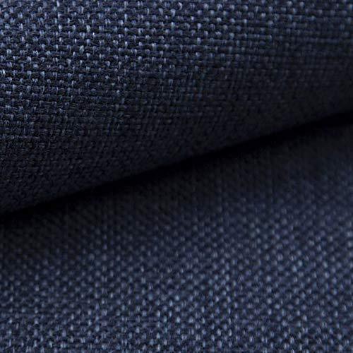 NOVELY® MUDAU | Polsterstoff | Meterware | Möbelstoff | Webstoff | Struktur-Stoff | Mélange | Grober Handwebcharakter | 26 Farben (19 Navy-Petrol)