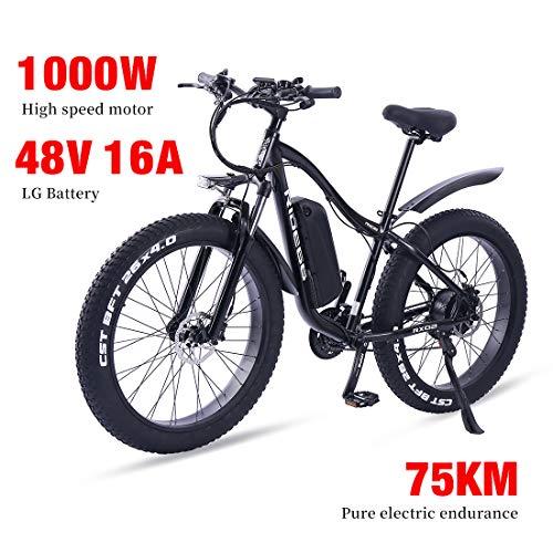 e Bike Mountainbike ebike für Damen & Herren elektrofahrrad 26 Zoll 1000W 16A LG Batterie 21 Gang Doppelte Hydraulische Scheibenbremse
