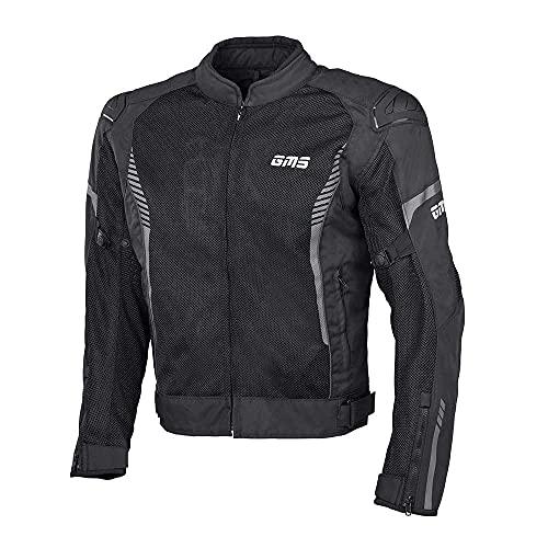 gms Samu Herren Motorradjacke mit Protektoren - Textil aus Mesh Gewebe mit GERMADURA 600D, Sommerjacke mit Thermoweste, Farbe:schwarz, Größe:S