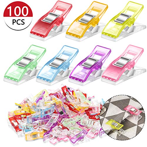100 Pieces Sewing Clips Colorful Wonder Clips Binding Knitting Quilting Clamp Multipurpose Sewing Fabric Paper Clips, Random Color