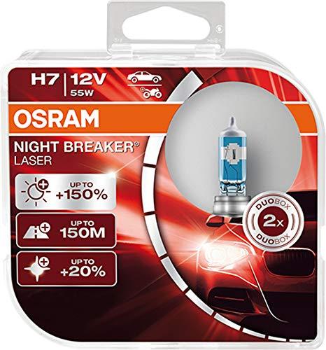 OSRAM NIGHT BREAKER LASER H7, Gen 2, +150% más luz, bombillas H7 para faros...