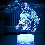 WHATOOK 3D LED Luz de noche, Lámpara de ilusión y 7 colores Lámpara de decoración Cambio para Regalo perfectos para niño