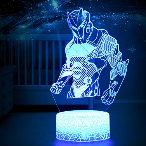 3D LED Lampe mit Motiven aus festungslampe, 3d illusion lampe Stimmungslampe, Battle Royale, mit 7 Farben Farbwechsel, Acryl, Stereo Illusion Tischlampe Crack Omega