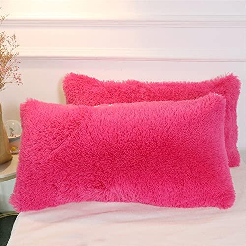 Funda de imitación mullida Decorativa Funda de Almohada Rectangular Shaggy Throw Pillow Cover 1/2 Piezas Dropshipping, Rosa roja 2 Piezas, 51 cm x 137 cm, 1 Pieza