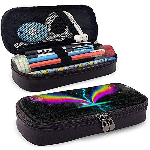 PU-Leder Federmäppchen mit Reißverschluss, Regenbogen-Flash-Speicher mit großer Kapazität Marker Fall Stifthalter, Kosmetik Make-up Tasche