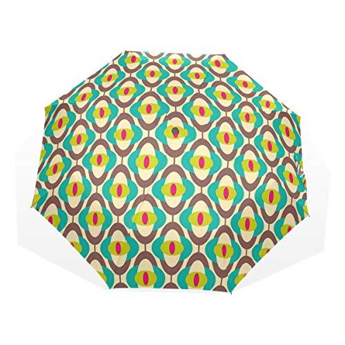 LASINSU Paraguas Resistente a la Intemperie,Impresión de azulejo de Arte Groovy Bauhaus Vintage,Fit