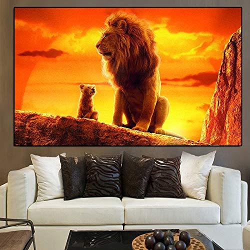 Famoso y moderno Rey León Pintura al óleo sobre lienzo Carteles e impresiones Cuadros Wall Art Pictures For Living Room60X90cm