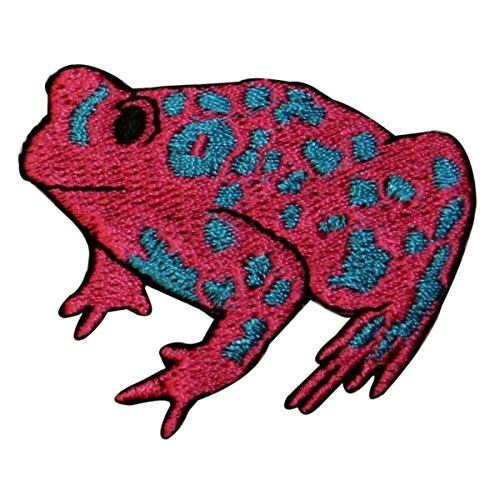 ID 0010 Red Frog Blue Spots Sitting Embroidered Iron On Applique Patch