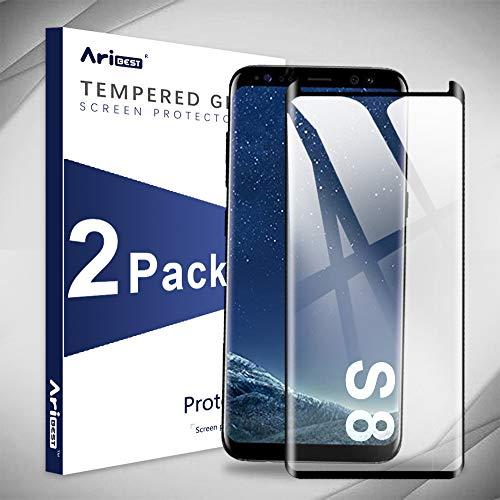 Aribest Galaxy S8 Panzerglas Schutzfolie, [2 Stück] Galaxy S8 Panzerglasfolie, 9H Härte,Anti-Kratzen,3D Displayschutzfolie Für Samsung Galaxy S8