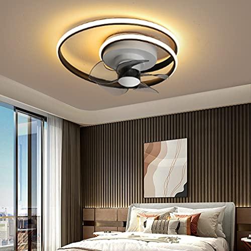 Ventilador de techo con iluminación Ventilador LED para habitación de niños control remoto Lámpara de techo viento Lámpara de techo regulable silencioso para comedor Sala de estar dormitorio,Negro