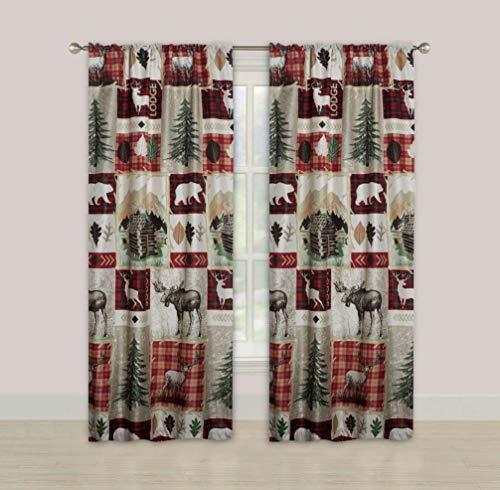 "Rustic Lodge Cabin 84"" Window Curtains Panel Pair Drapes Elk Deer and Bear"
